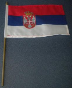 Serbia Country Hand Flag.